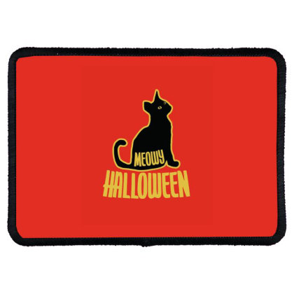 Meowy Halloween Rectangle Patch Designed By Blackstone