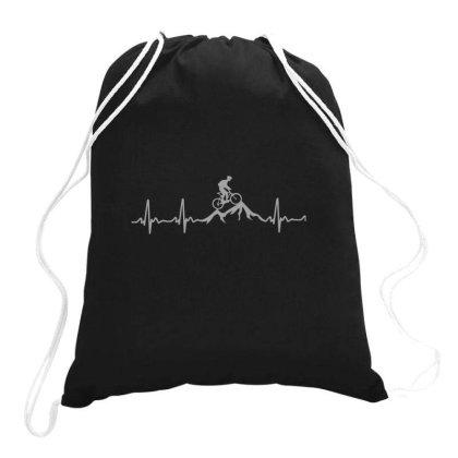 Mountain Bike Heartbeat Funny Mtb Dirt Bike Shirt Classic Drawstring Bags Designed By Yusrizal_