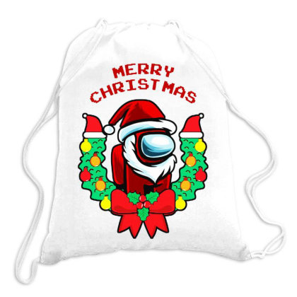 Merry Christmas Among Us Game Imposter Drawstring Bags Designed By Romeo And Juliet