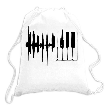 Piano Keys Sound Wave Drawstring Bags Designed By Swan Tees