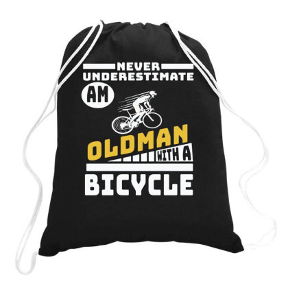 Never Underestimate An Oldman With A Bicycle Drawstring Bags Designed By Yusrizal_