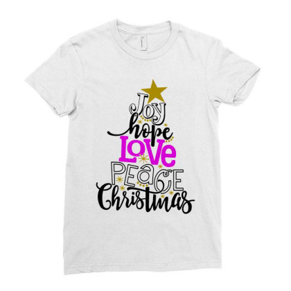 Joy Hope Love Peace Christmas Ladies Fitted T-shirt Designed By Swan Tees
