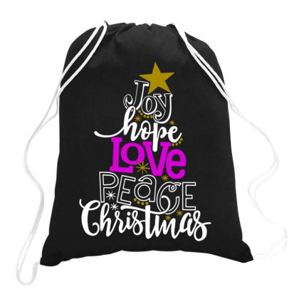 Joy Hope Love Peace Christmas Drawstring Bags Designed By Swan Tees