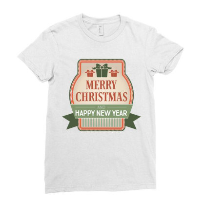 Merry Christmas, Happy New Year, Have A Holly Jolly Ladies Fitted T-shirt Designed By Estore