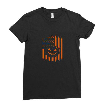Pumpkin America Halloween Flag Ladies Fitted T-shirt Designed By Yusrizal_
