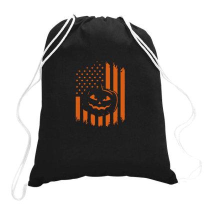 Pumpkin America Halloween Flag Drawstring Bags Designed By Yusrizal_