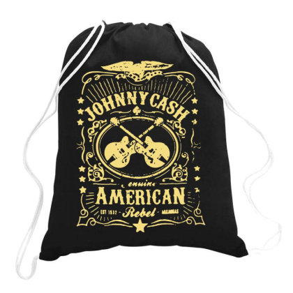 Johnny Cash Drawstring Bags Designed By Swan Tees