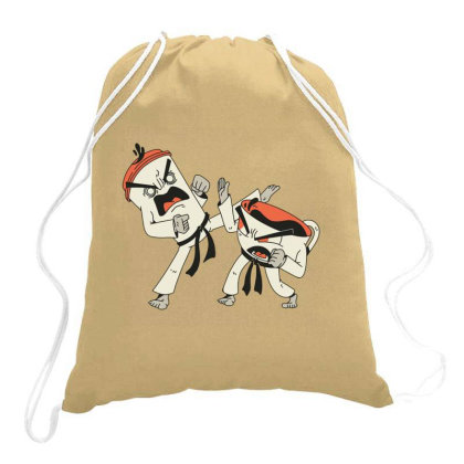 Coffee Vs Tea Karate Fight Drawstring Bags Designed By Jekfor