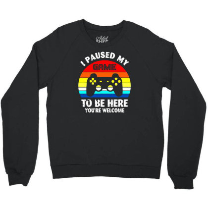 I Paused My Game To Be Here Vintage Retro Sunset Crewneck Sweatshirt Designed By Funtee