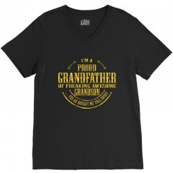 i'm a proud grandfather of a freaking awesome grandson V-Neck Tee | Artistshot