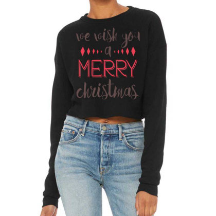 We Wish You A Merry Christmas, Happy New Year Cropped Sweater Designed By Estore