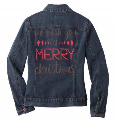 We Wish You A Merry Christmas, Happy New Year Ladies Denim Jacket Designed By Estore