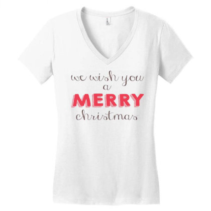We Wish You A Merry Christmas, Happy New Year Women's V-neck T-shirt Designed By Estore