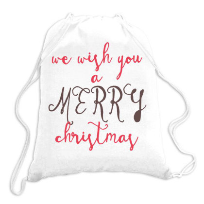We Wish You A Merry Christmas, Happy New Year Drawstring Bags Designed By Estore