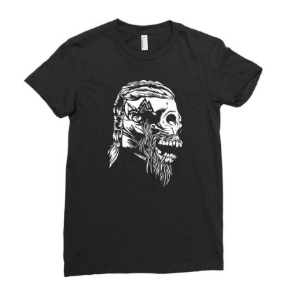 Viking Skull Ladies Fitted T-shirt Designed By Fanshirt