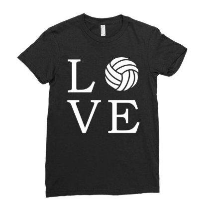 Volleyball Love Ladies Fitted T-shirt Designed By Fanshirt