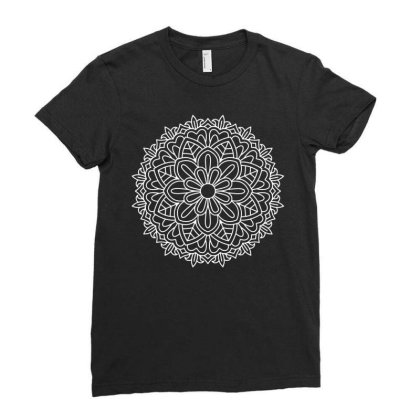 White Mandala Ladies Fitted T-shirt Designed By Fanshirt