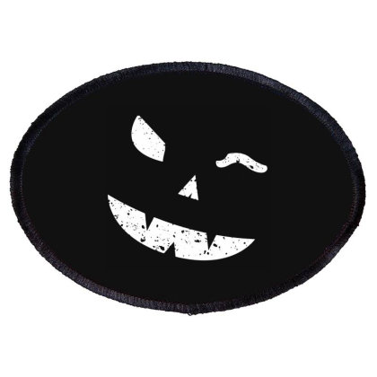 Winking Pumpkin Face Oval Patch Designed By Fanshirt