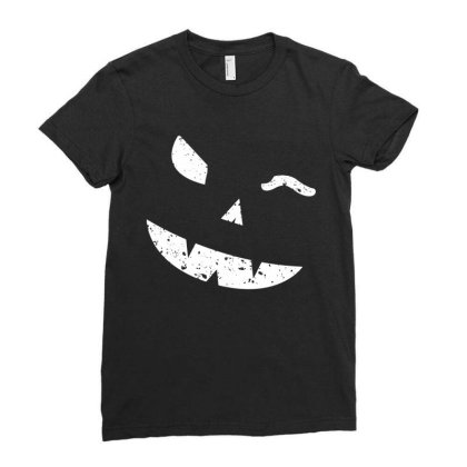 Winking Pumpkin Face Ladies Fitted T-shirt Designed By Fanshirt