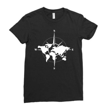 World Map Compass Ladies Fitted T-shirt Designed By Fanshirt