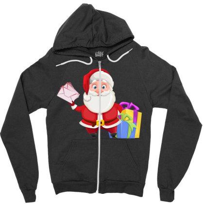 Santa Claus Zipper Hoodie Designed By Chiks