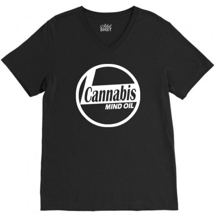 Ganja Oil Men Printed V-neck Tee Designed By Henz Art