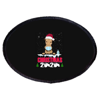 Christmas 2020 Airedale Dog Face Mask Funny Dog Lover Xmas Oval Patch Designed By Love Shiga