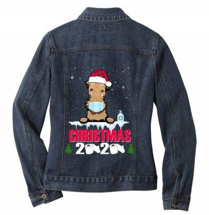 Christmas 2020 Airedale Dog Face Mask Funny Dog Lover Xmas Ladies Denim Jacket Designed By Love Shiga