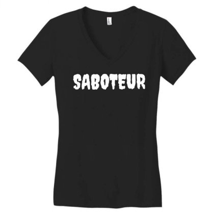Dr. Gameshow Merch Saboteur White Font Lettering Women's V-neck T-shirt Designed By Wowotees