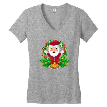 Santa Claus Women's V-neck T-shirt Designed By Chiks