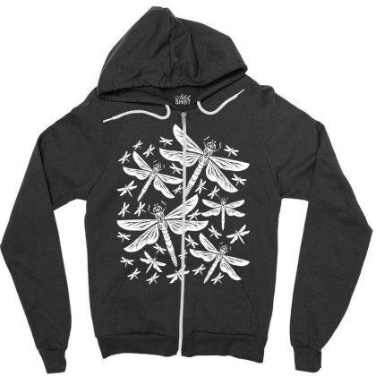 Dragonflies Girly Insects Dragonfly Zipper Hoodie Designed By Wowotees