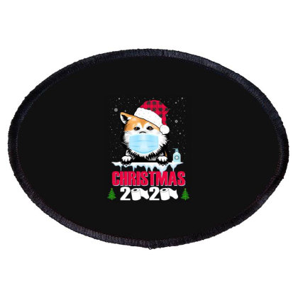 Christmas 2020 Akita Dog Face Mask Funny Dog Lover Xmas Oval Patch Designed By Love Shiga