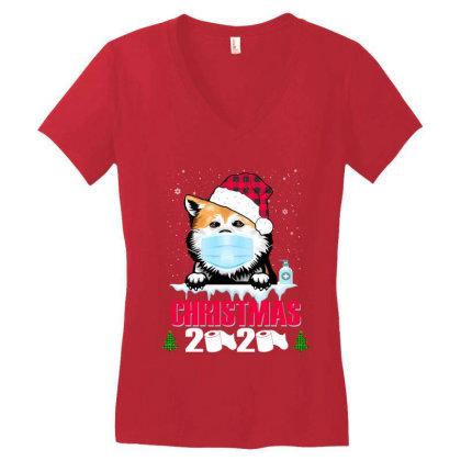 Christmas 2020 Akita Dog Face Mask Funny Dog Lover Xmas Women's V-neck T-shirt Designed By Love Shiga