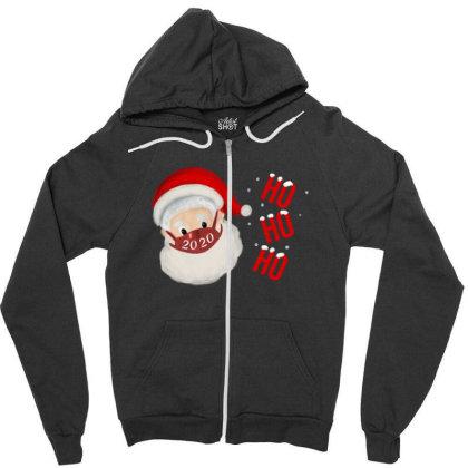 2020 Santa With Mask Zipper Hoodie Designed By Akin