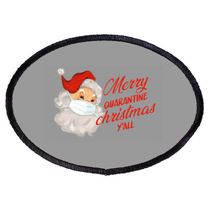 Merry Quarantine Christmas Y'all Oval Patch Designed By Akin