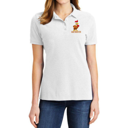 Dad Rooster Ladies Polo Shirt Designed By Akin