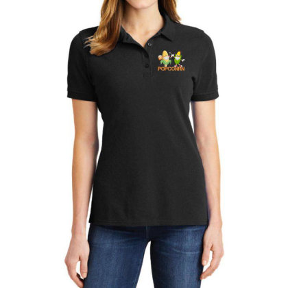 Popcorn With A Funny Mask Ladies Polo Shirt Designed By Amber Petty