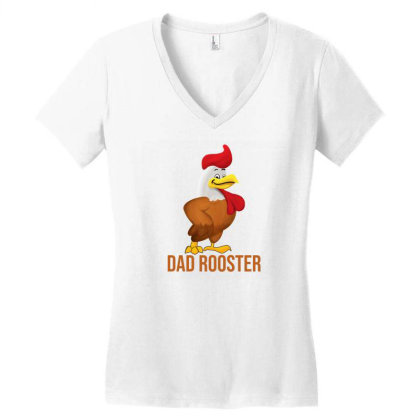 Dad Rooster Women's V-neck T-shirt Designed By Akin