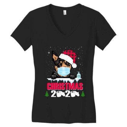 Christmas 2020 Australian Kelpie Dog Face Mask Funny Dog Lover Xmas Women's V-neck T-shirt Designed By Love Shiga
