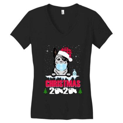 Christmas 2020 Australian Cattle Dog Face Mask Funny Dog Lover Xmas Women's V-neck T-shirt Designed By Love Shiga