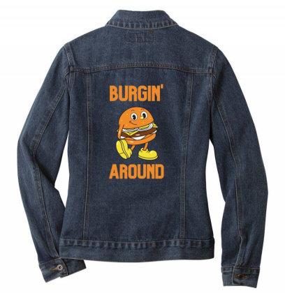 Burger Burgin Around Ladies Denim Jacket Designed By Blackstone