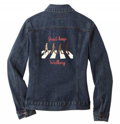 Just Keep Walking Ladies Denim Jacket Designed By Blackstone