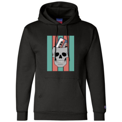 Music Tape Skull Champion Hoodie Designed By Blackstone