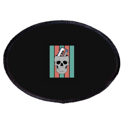 Music Tape Skull Oval Patch Designed By Blackstone