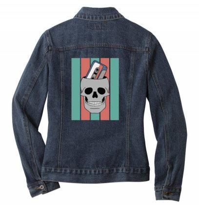 Music Tape Skull Ladies Denim Jacket Designed By Blackstone