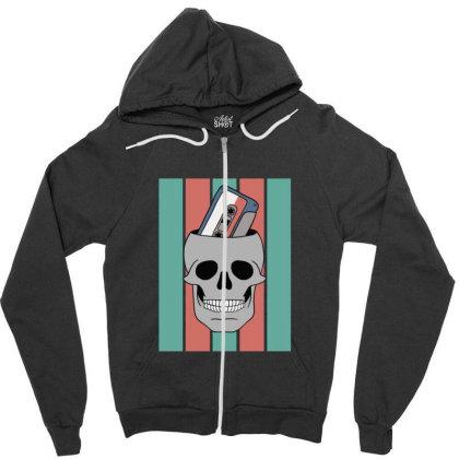 Music Tape Skull Zipper Hoodie Designed By Blackstone