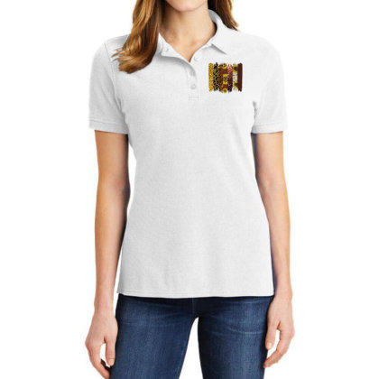 Fall Glitter Brush Strokes Ladies Polo Shirt Designed By Bettercallsaul