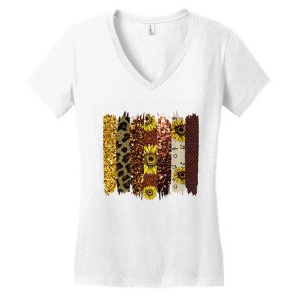 Fall Glitter Brush Strokes Women's V-neck T-shirt Designed By Bettercallsaul