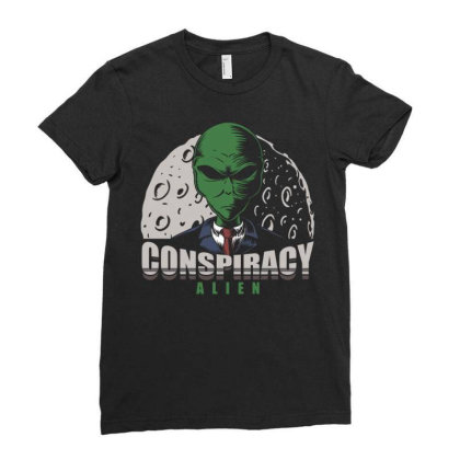 Conspiracy Alien Ladies Fitted T-shirt Designed By Dhiart