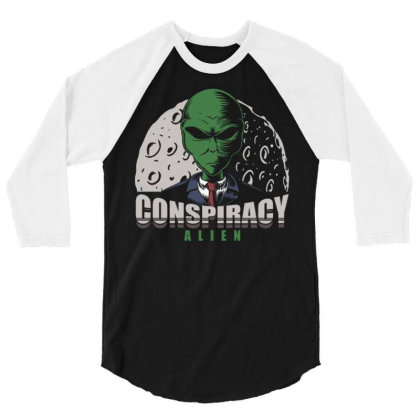 Conspiracy Alien 3/4 Sleeve Shirt Designed By Dhiart